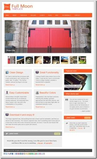Get a free word press lookalike Html template  from theme forest