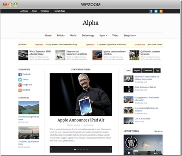 Magazine and Newspaper. alpha wpzppm theme wordpress