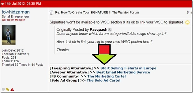 signature example on warrior forums